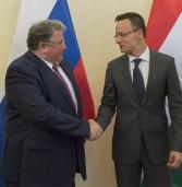 Глава Мордовии Владимир Волков и министр внешнеэкономических связей Венгрии Петер Сийярто дали совместную пресс-конференцию