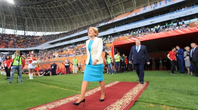 Третий тестовый матч на «Мордовия Арене» посетила и.о. вице-премьера Правительства РФ Ольга Голодец